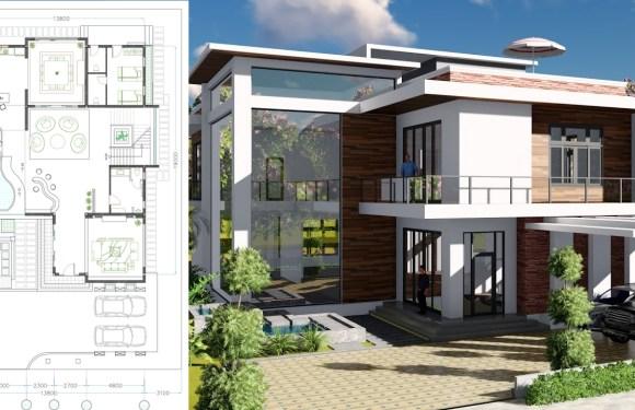 2 stories Villa Design Size 13.8x19m 4bedroom