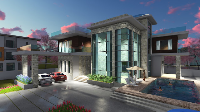 4 Bedroom Modern Villa design Size 15.5×22.4m