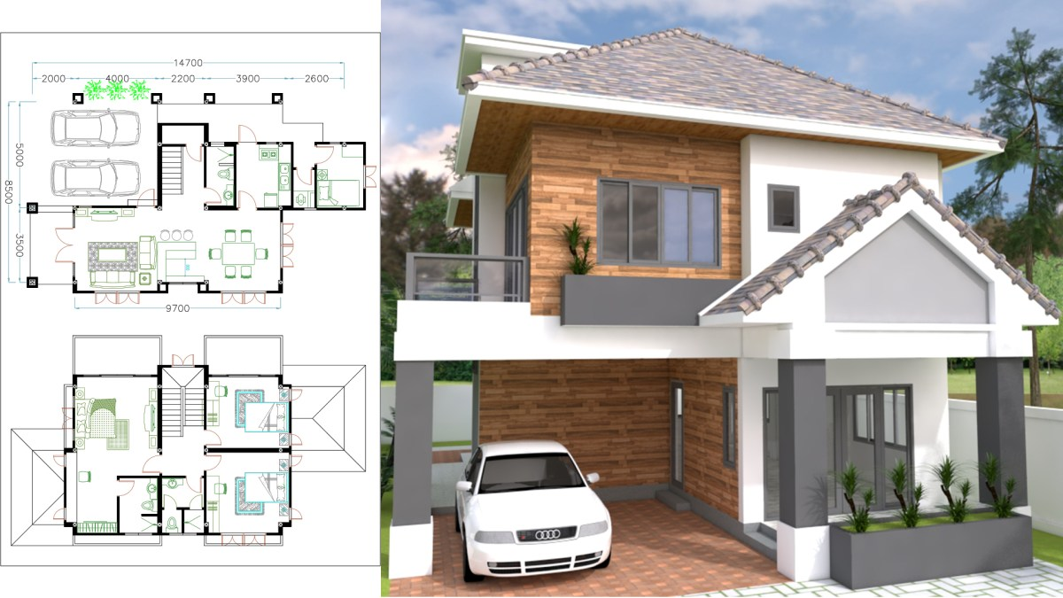 4 Bedrooms Home Plan 8.5x14.7m