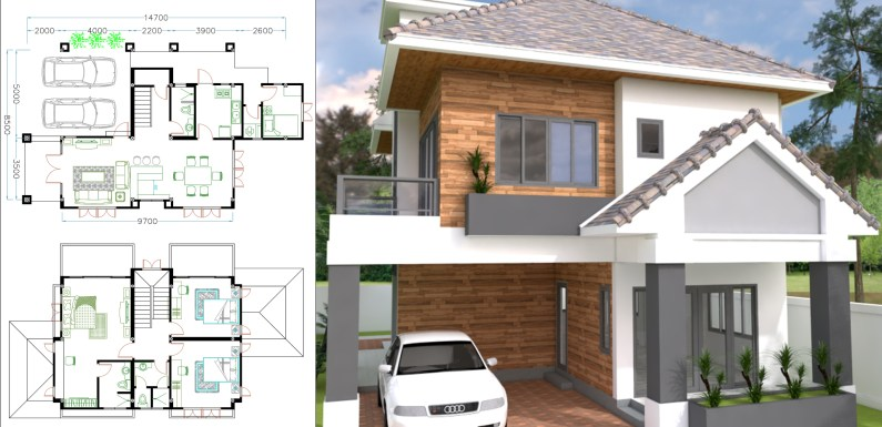 4 Bedrooms Home Plan 8.5×14.7m