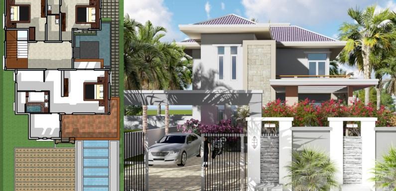 4 Bedrooms Modern Villa Design 12x16m
