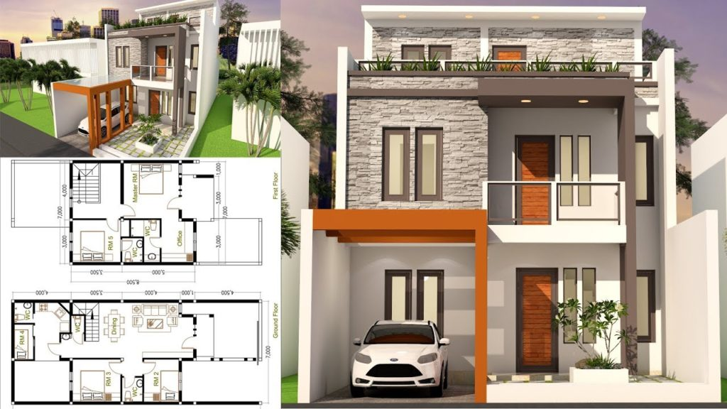 5 Bedrooms Home Design Plan 7x17