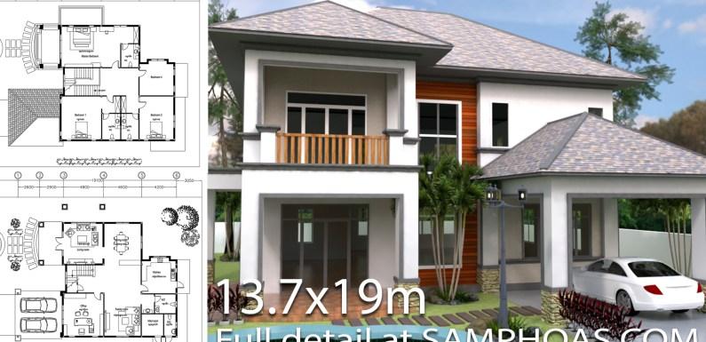 3 Bedrooms Villa Plan 13.7x19m