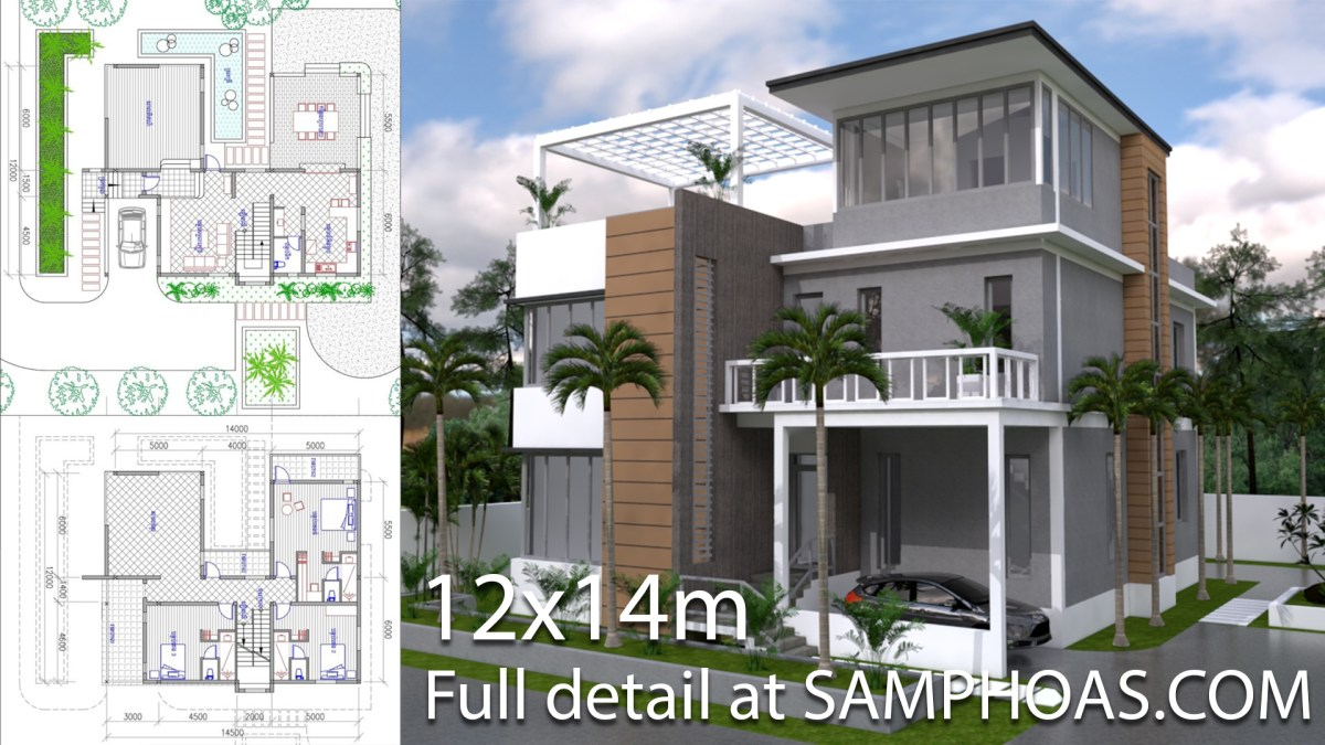 3 Story House Plan 12x14m With 4 Bedrooms