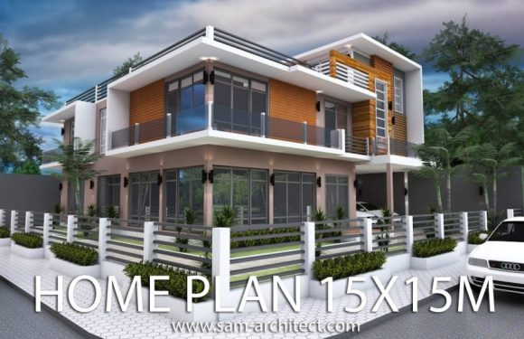 Modern 6 Bedrooms Home Plan 15x15m