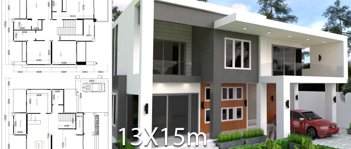 Modern 4 Bedrooms House plan 13x13m