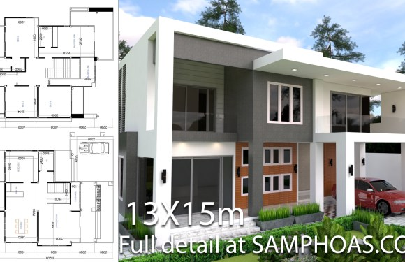 Modern 4 Bedrooms House plan 13x13m