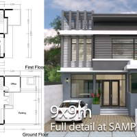 3 bedroom modern home plan 9x9m