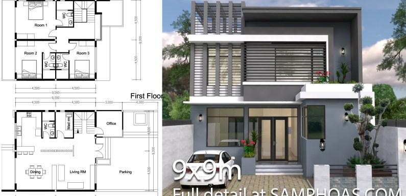 3 bedroom modern home plan 9x9m