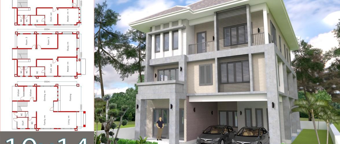 Modern 6 bedrooms Home Plan 10x14m
