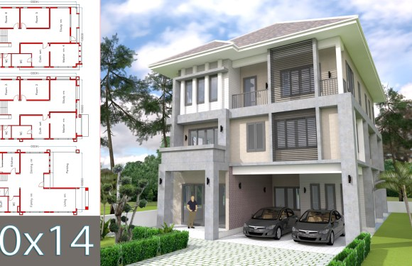 Modern 6 bedrooms Home Plan 10x14m