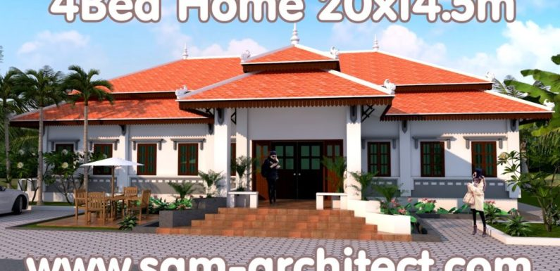 4 Bedrooms House Plan 20×14.5m