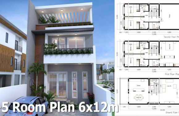 5 Bedrooms Modern Home Plan 6x12m