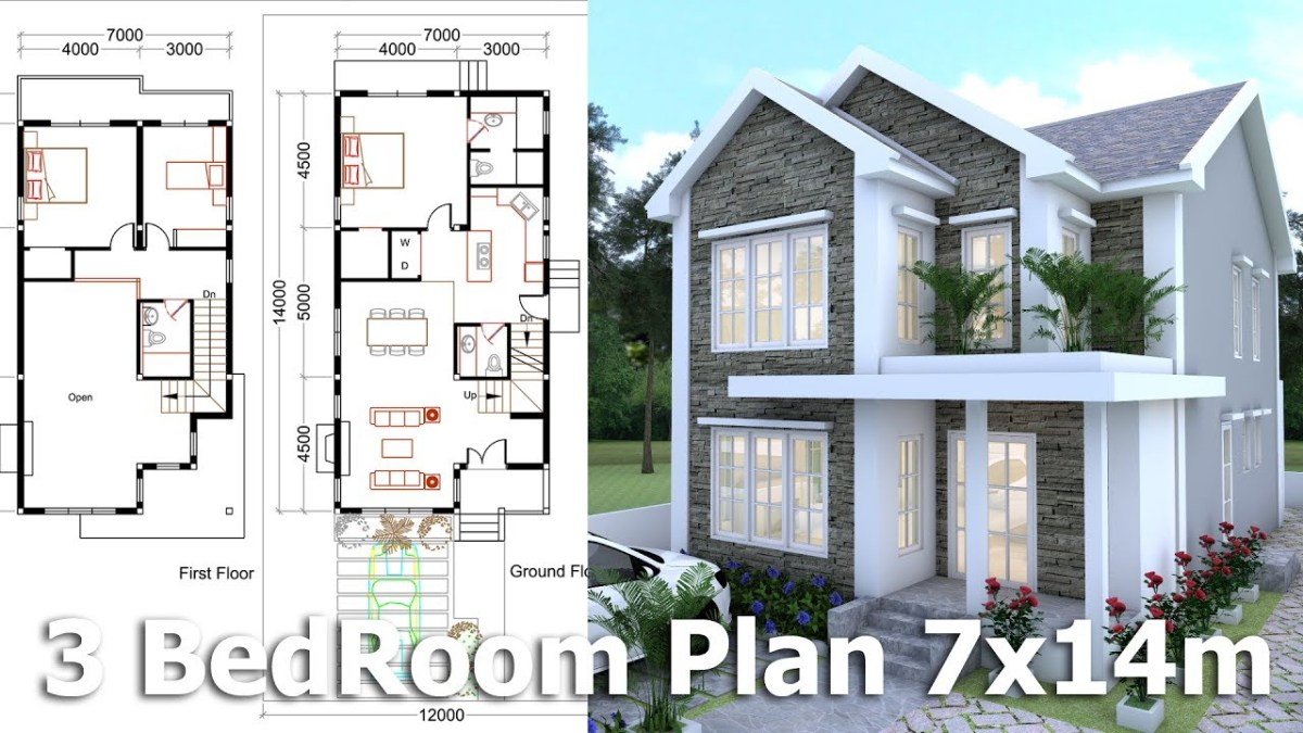 3 Bedrooms Home Plan 7x14m