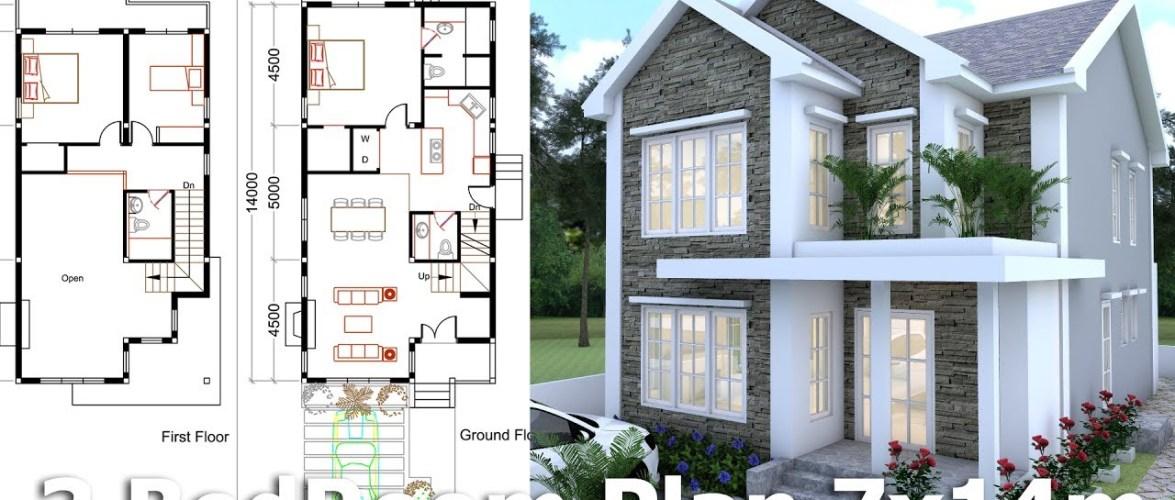 3 Bedrooms Home Plan 7x14m