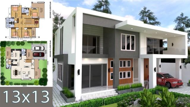 Modern 4 Bedrooms House plan 13x13m - SamPhoas Plan