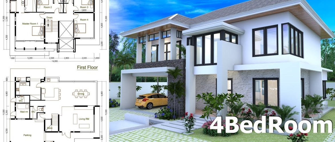 4 Bedrooms Home Design Plan Size 14x11m