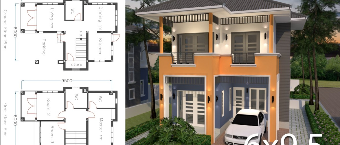 Home Plan 6×9.5m with 3 Bedrooms