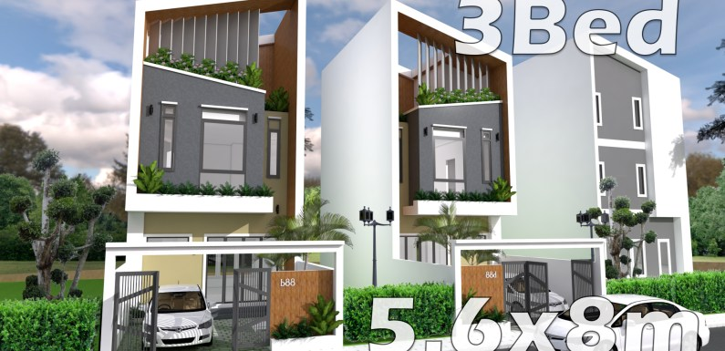 Modern House Plans 5.6 x 8 Meter with Interior