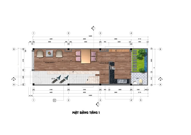 Narrow House 4.5x13m with 3 Bedrooms
