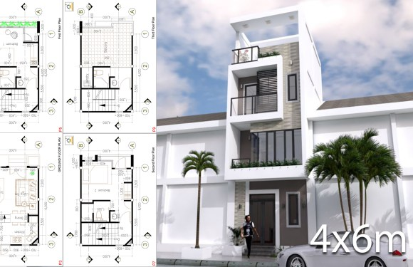 Small Modern House Designs Plan 4×6 Meter