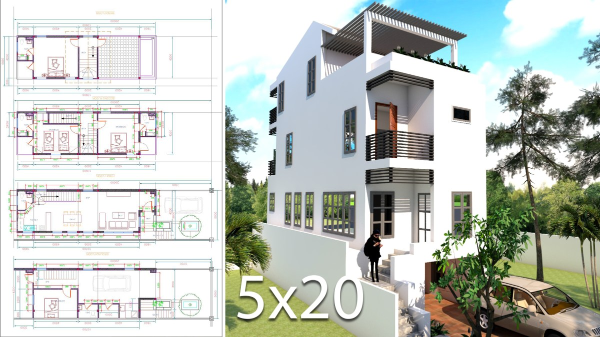 Elevated House Plans for Narrow Lots 5x20 Meter