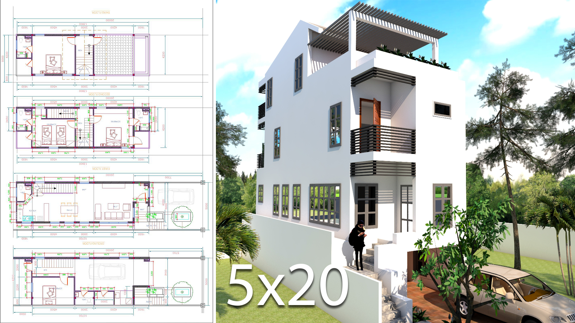 Elevated House Plans for Narrow Lots 5x20 Meter - SamPhoas Plan