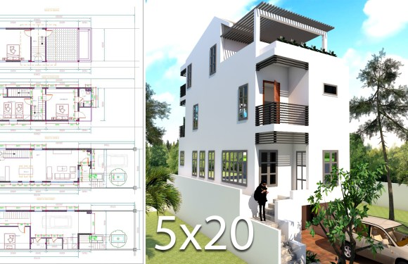 Elevated House Plans for Narrow Lots 5×20 Meter