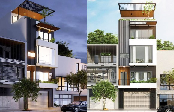 Narrow Lot House Plans 5×9.5m with 4 Bedrooms