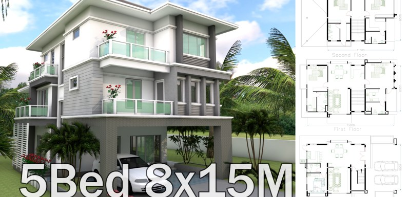 Sketchup 5 Bedrooms House Plan 8x15m