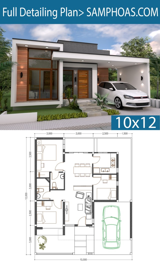 3 Bedrooms Home Design Plan 10x12m - SamPhoas Plan