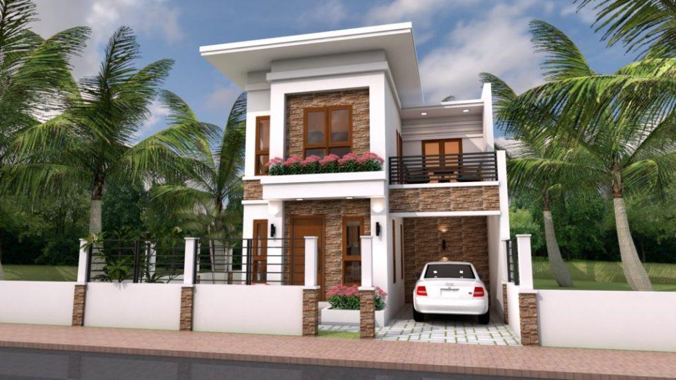 Home Plan 7x10 Meter 4 Bedrooms 3d