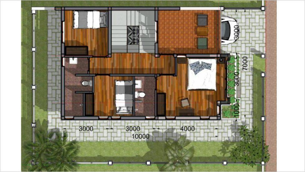 Home Plan 7x10 Meter 4 Bedrooms first floor