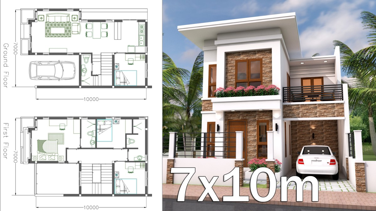 Interior Home Plan 7x10 Meter 4 Bedrooms