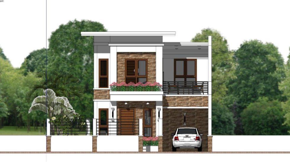 Home Plan 7x10 Meter 4 Bedrooms Front view