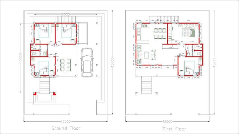 Home Design Plan 9x10m 5 Bedrooms