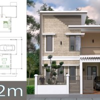 Home Design Plan 7x12m with 4 Bedrooms Plot 8x15