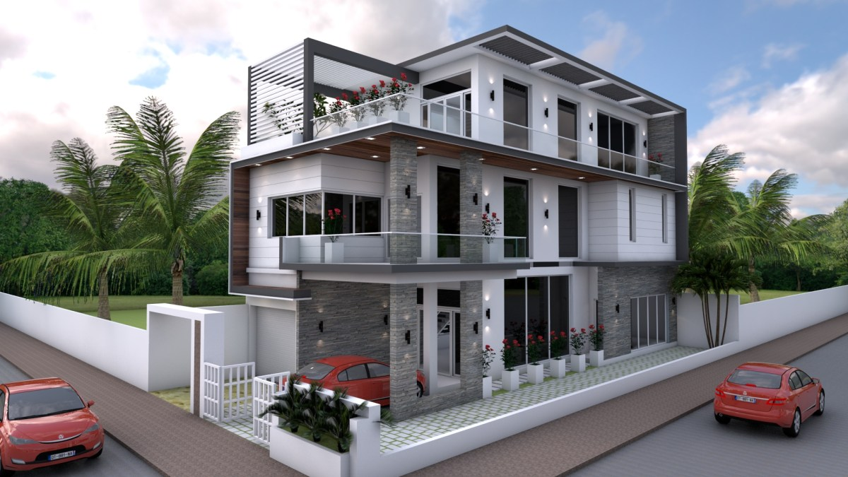 Sketchup 4 Bedrooms Home Design Plan 8x18m