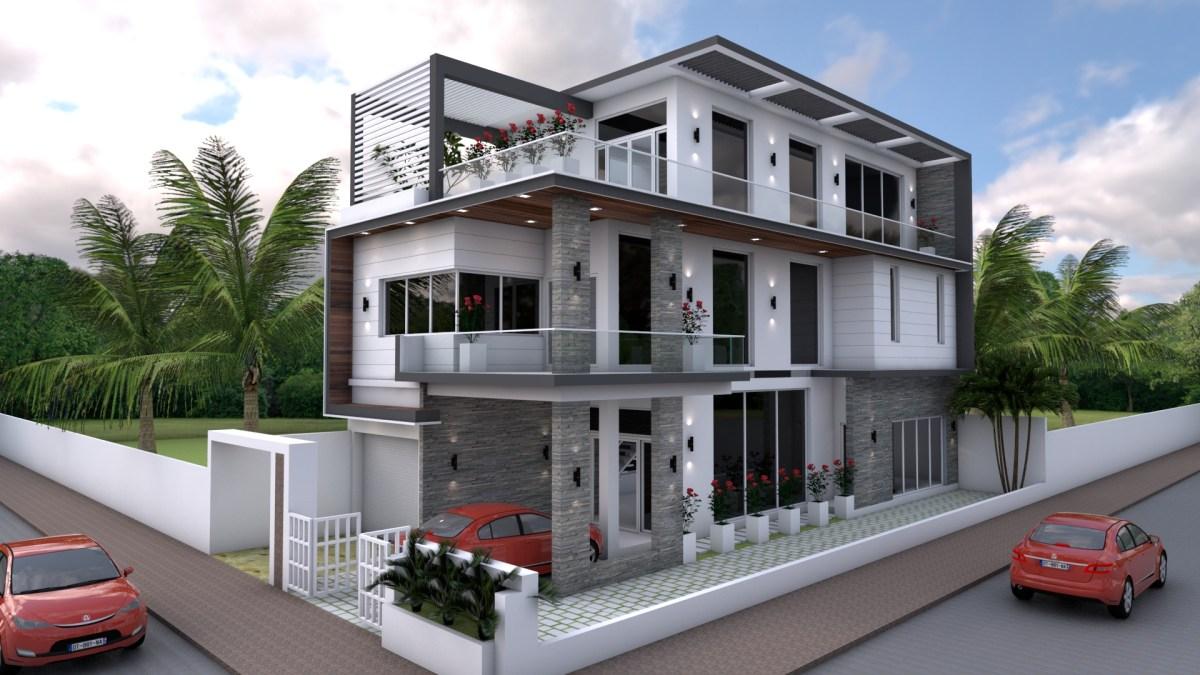 Sketchup 4 Bedrooms Home Design Plan 8x18m