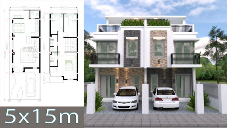 House Plans 5x15m with 3 Bedrooms