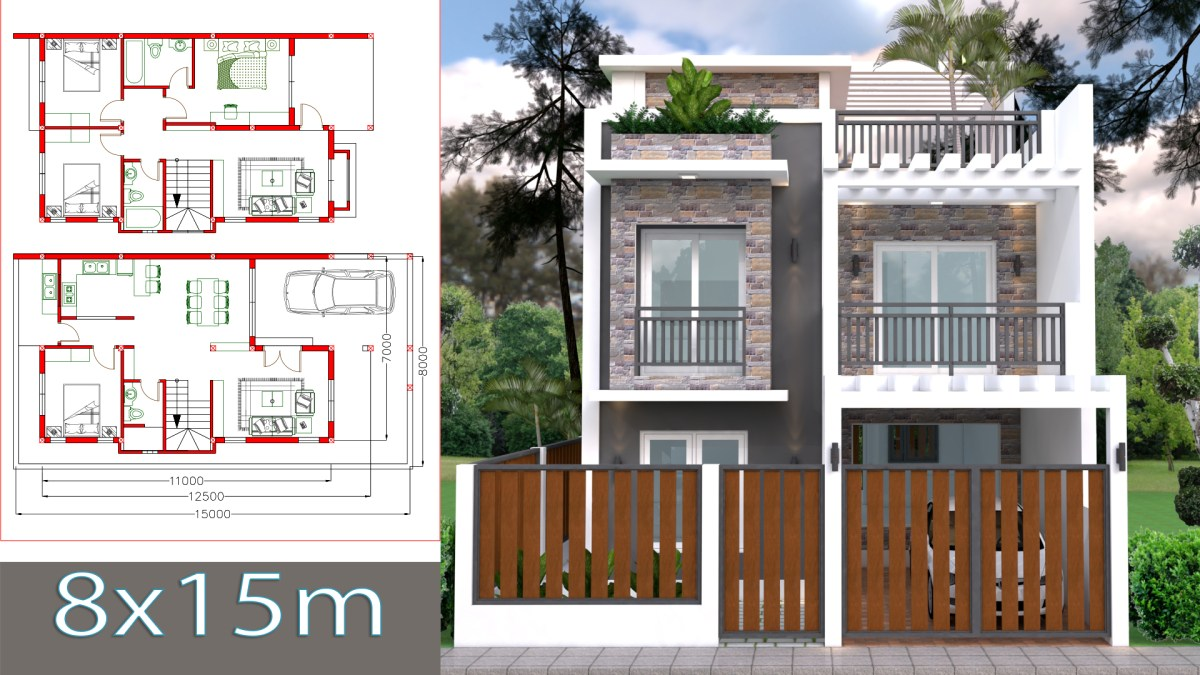 Home Design Plan 7x11m Plot 8x15 with 4 Bedrooms