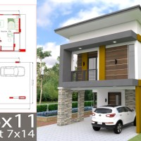 Small Home Design Plan 6x11m with 3 Bedrooms