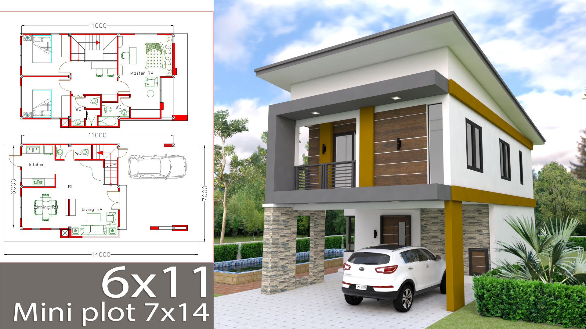 Small Home Design Plan 6x11m with 3 Bedrooms - SamPhoas Plan