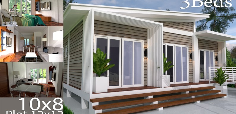 Home Design Plan 10X8M 3 Bedrooms with Interior Design