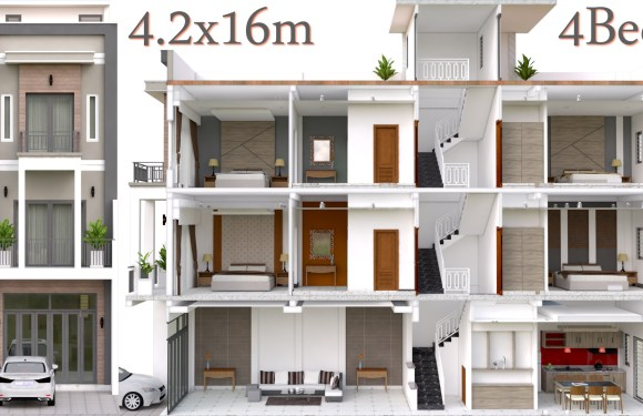 Interior Design Plan 4.2x16m Walk Through