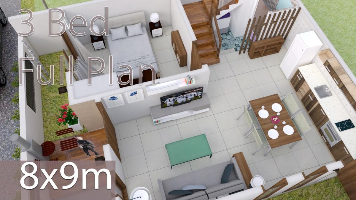 Interior Design Plan 8x9m with 3 Bedrooms