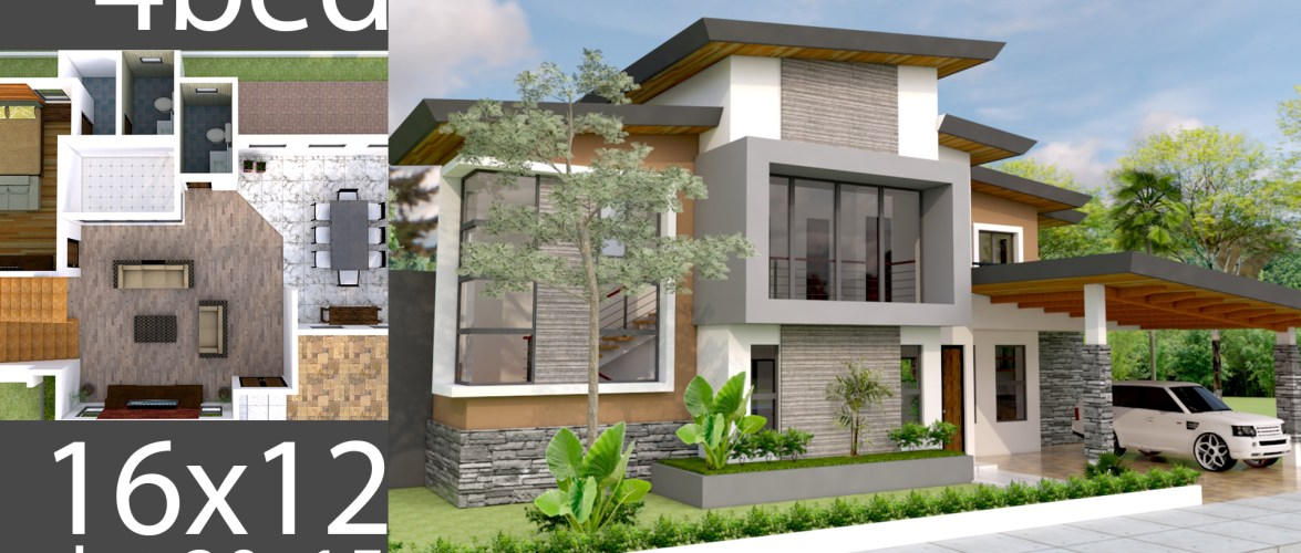 Plan 3D Home Design 20x15m Full Plan 4Beds