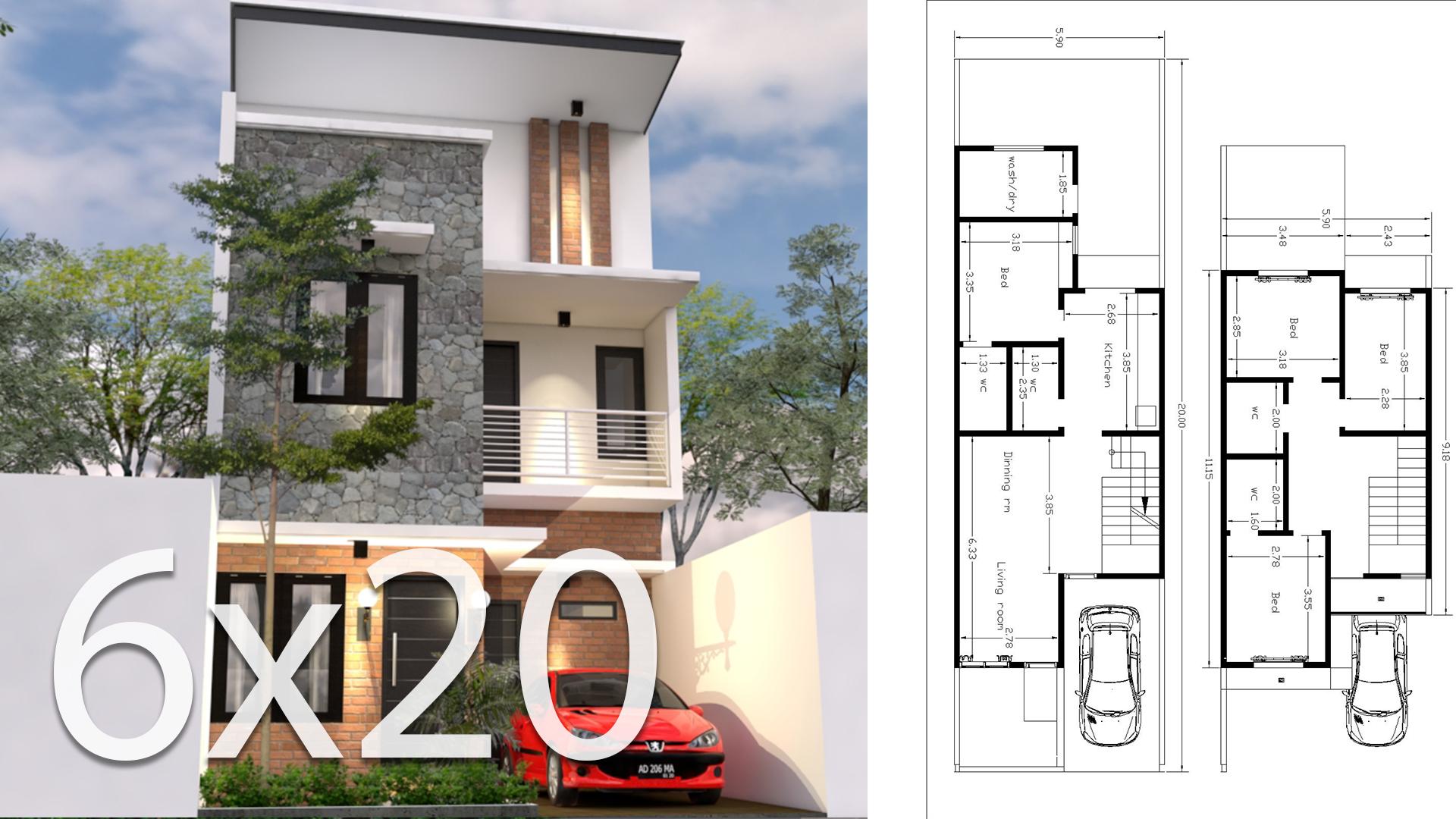 6x20M House Design 3d Plan With 4 Bedrooms - SamPhoas Plan