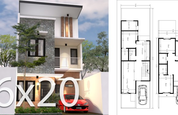 6x20M House Design 3d Plan With 4 Bedrooms