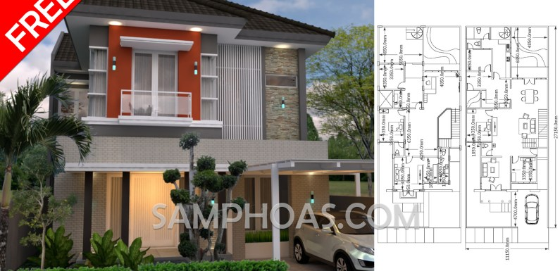 Sketchup Home Design 3d 11x27m with 4 Bedrooms